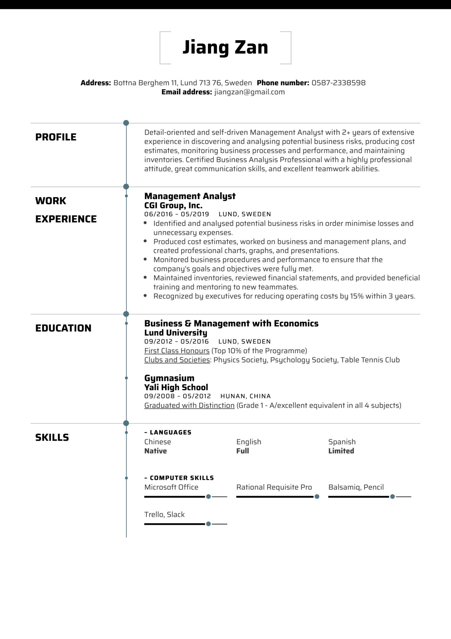 Management Analyst Resume Sample (Part 1)