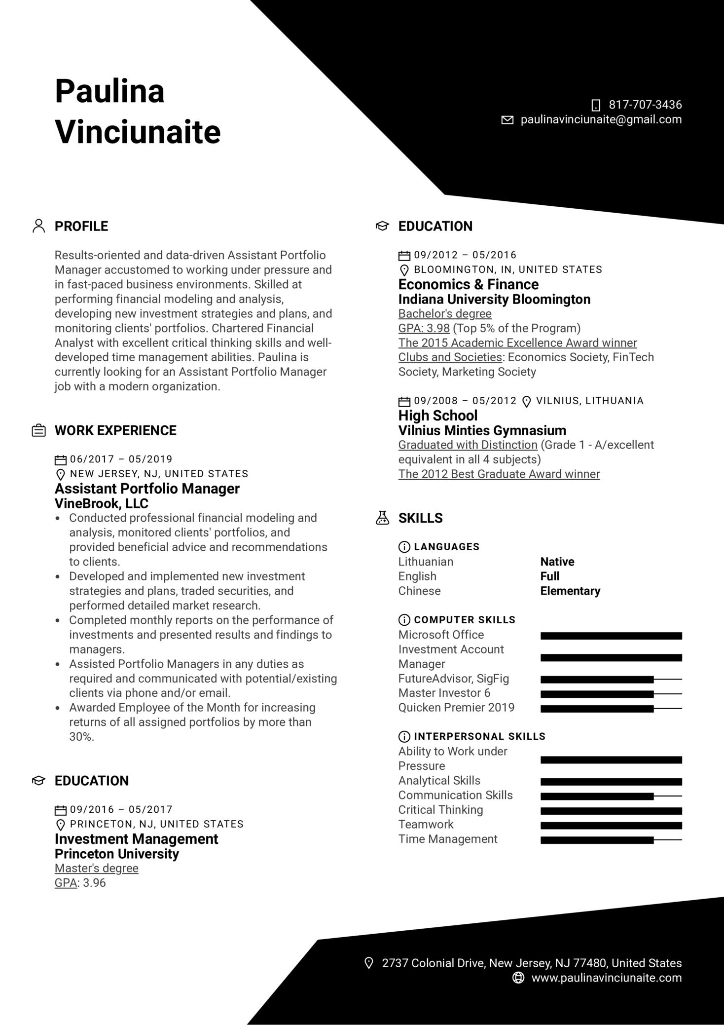 Assistant Portfolio Manager Resume Example (parte 1)