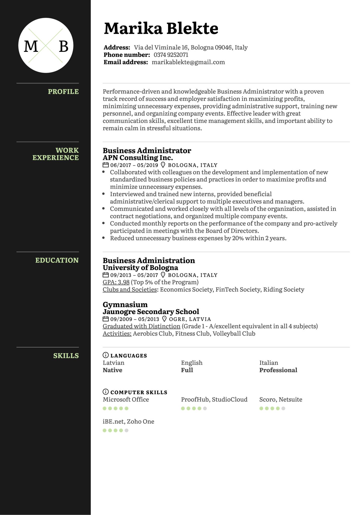 Business Administrator Resume Sample (Part 1)