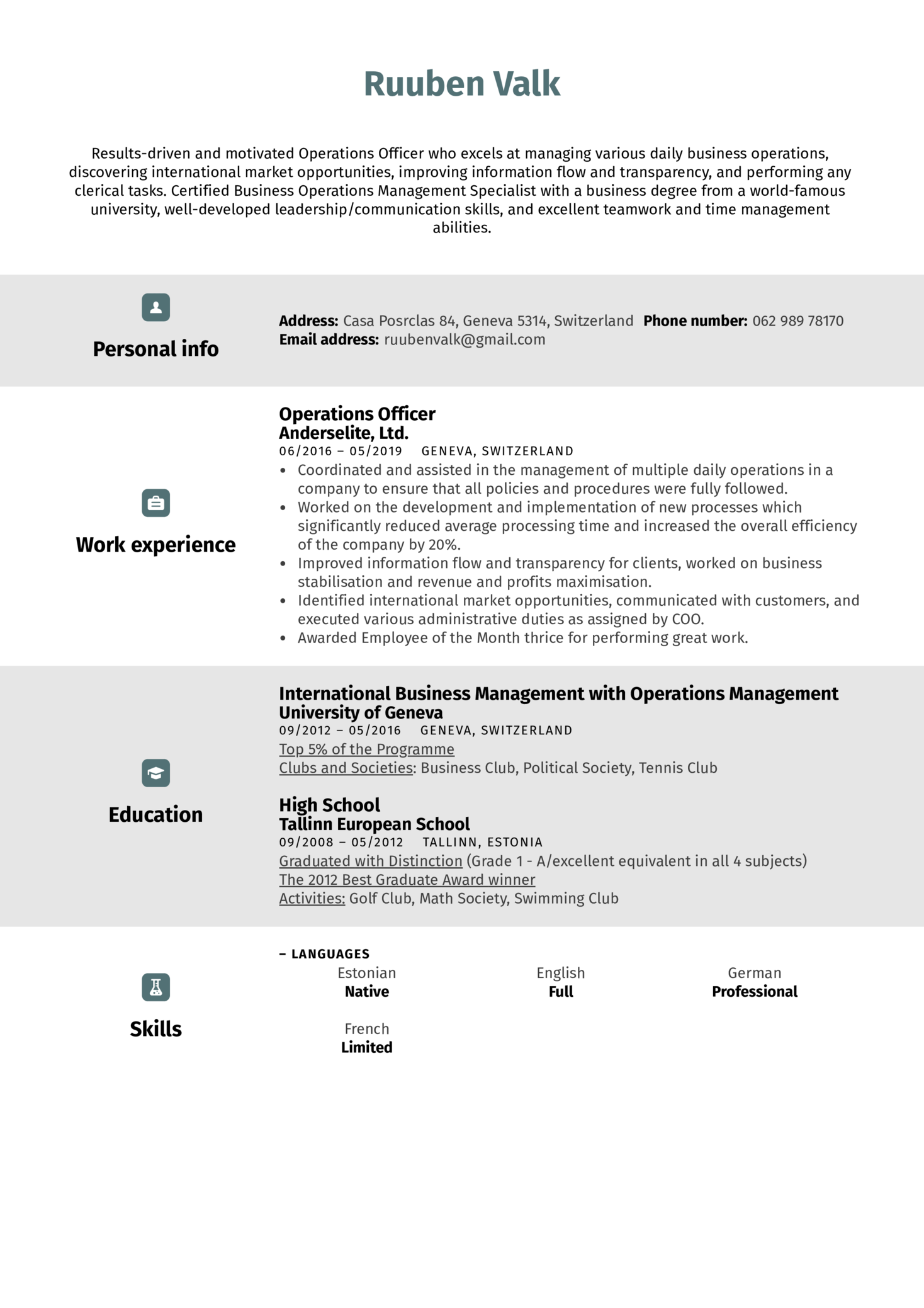 Operations Officer Resume Sample (Parte 1)
