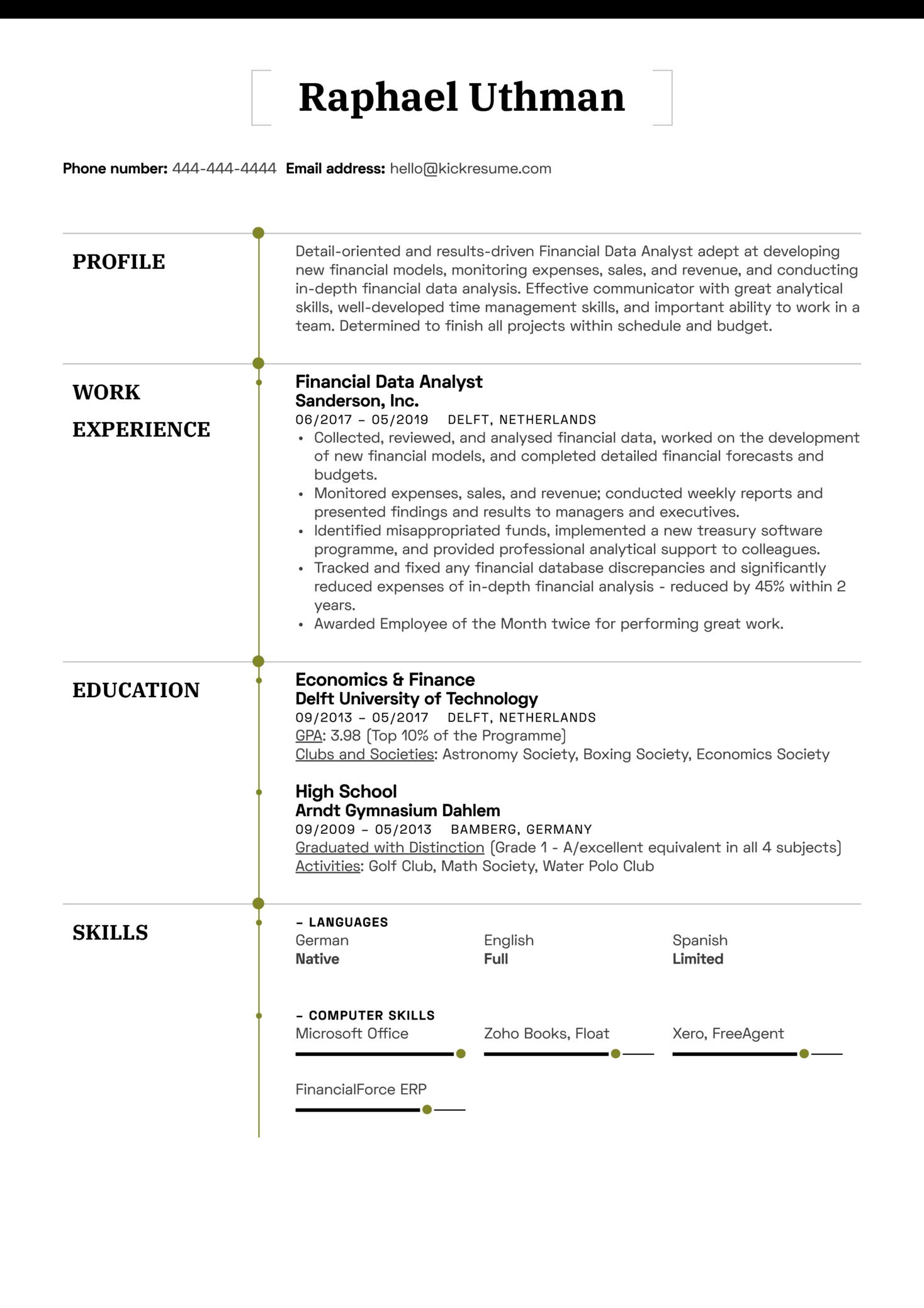 Financial Data Analyst Resume Sample (Parte 1)
