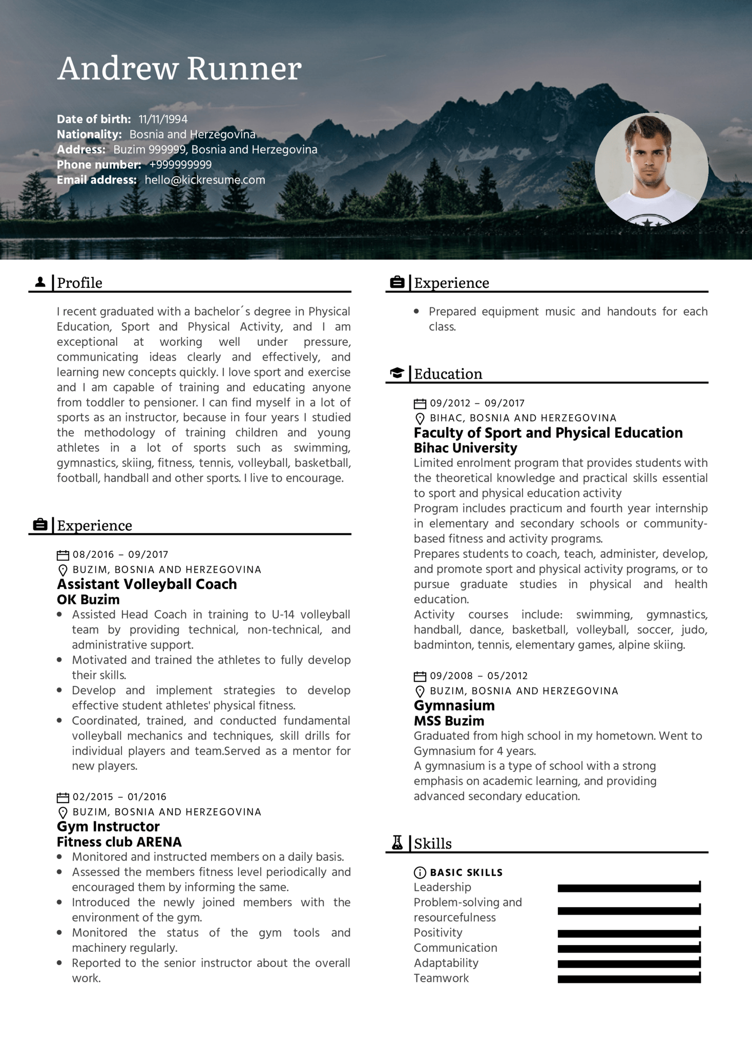 Fitness Instructor, Assistant Coach Resume Sample (Part 1)