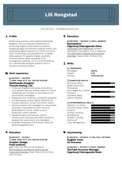 Multimedia Designer Resume Example