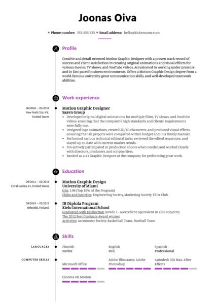 Motion Graphic Designer Resume Template