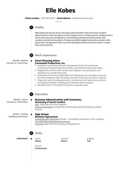 Event Planning Intern Resume Example