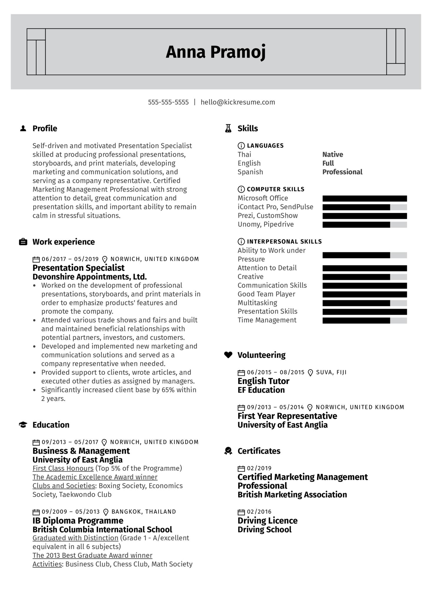 Presentation Specialist Resume Example (Part 1)