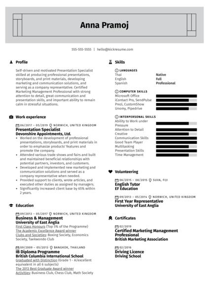 Presentation Specialist Resume Example
