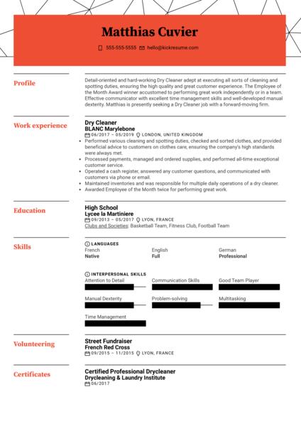 Dry Cleaner Resume Sample