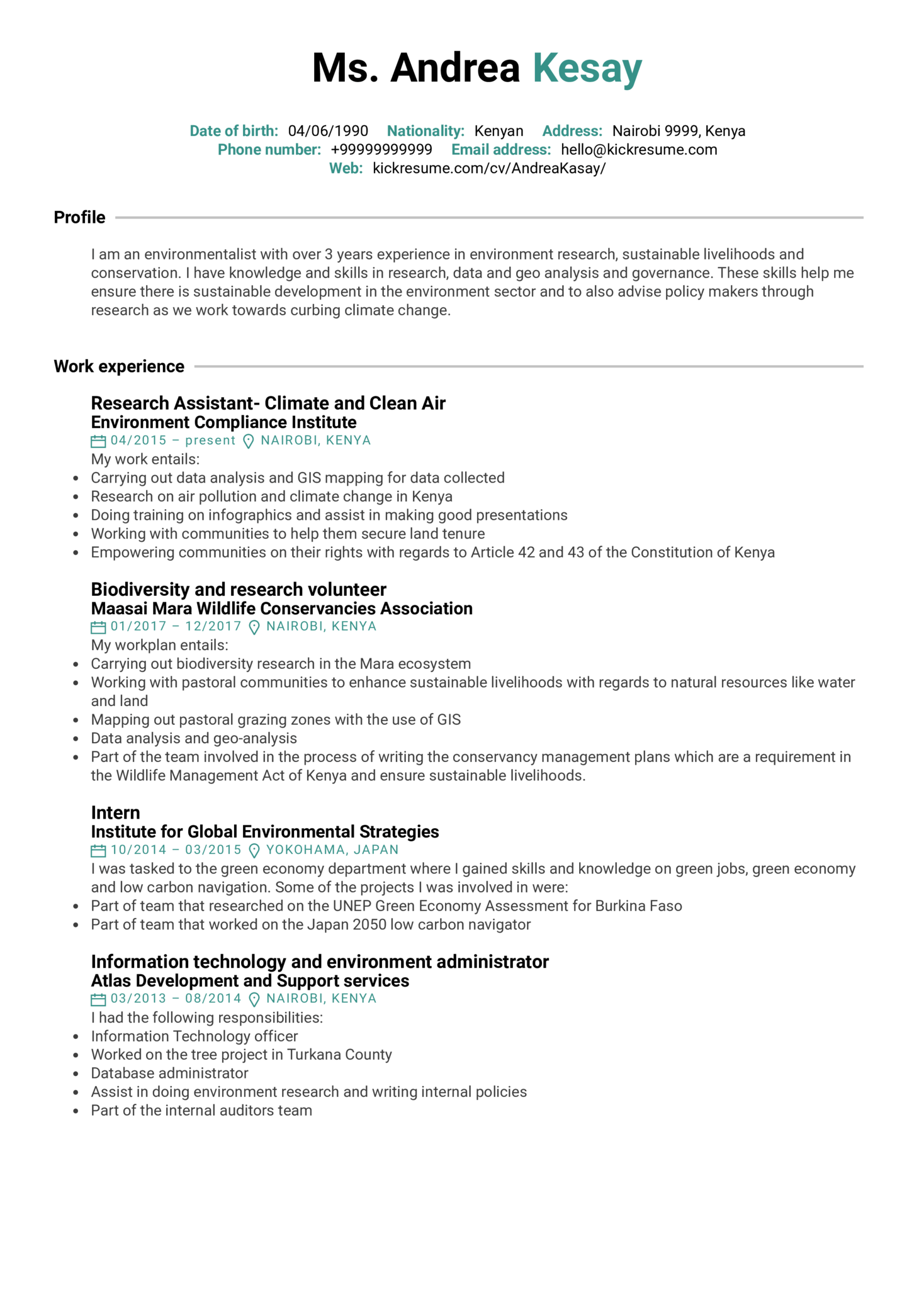 Environmental Research Assistant Resume Sample (parte 1)