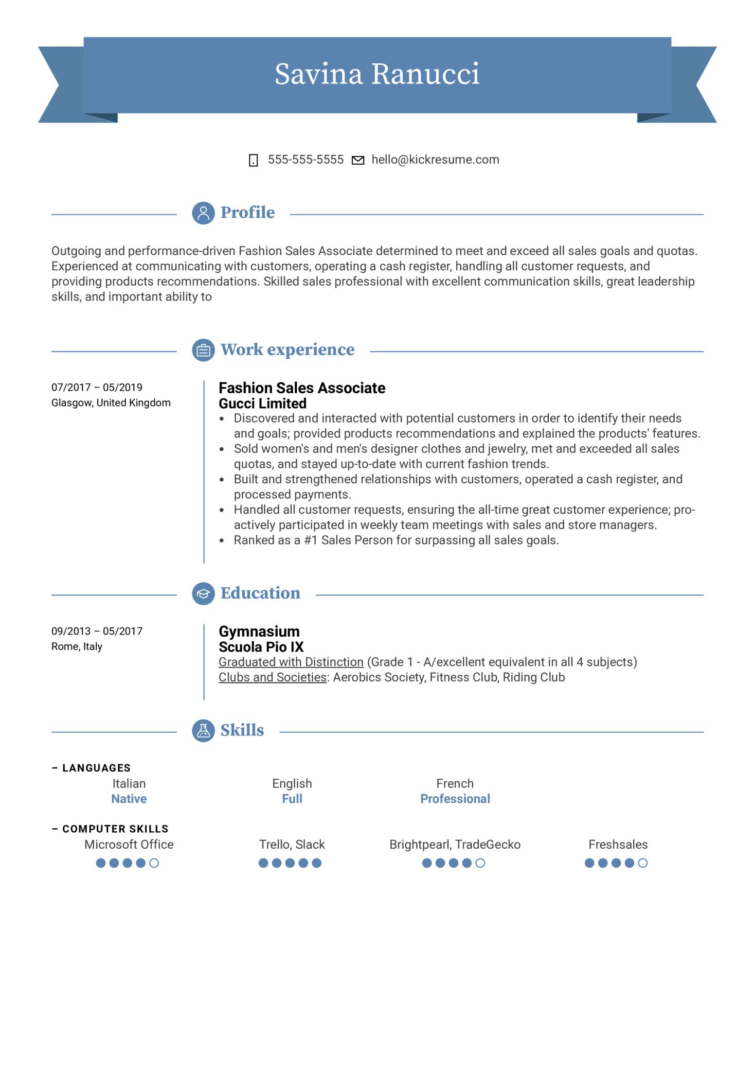 Fashion Sales Associate Resume Example (parte 1)