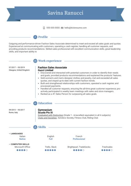 Fashion Sales Associate Resume Example