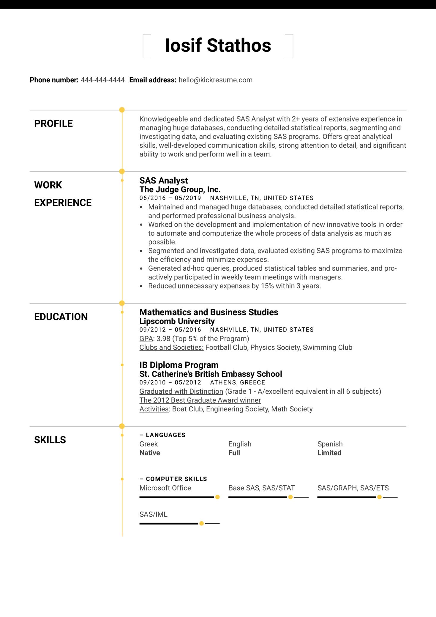 SAS Analyst Resume Sample (Teil 1)