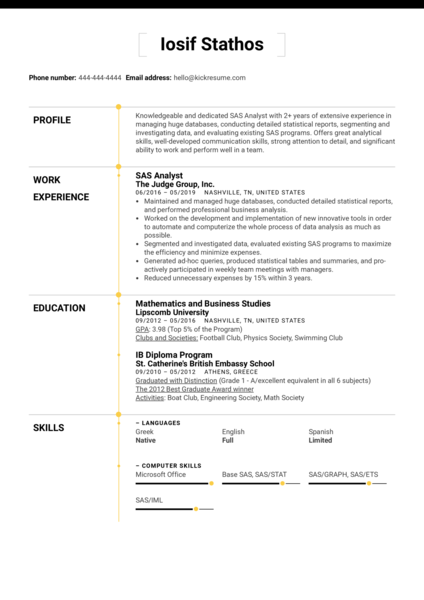 SAS Analyst Resume Sample