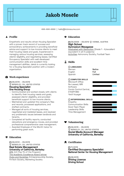 Housing Specialist Resume Example