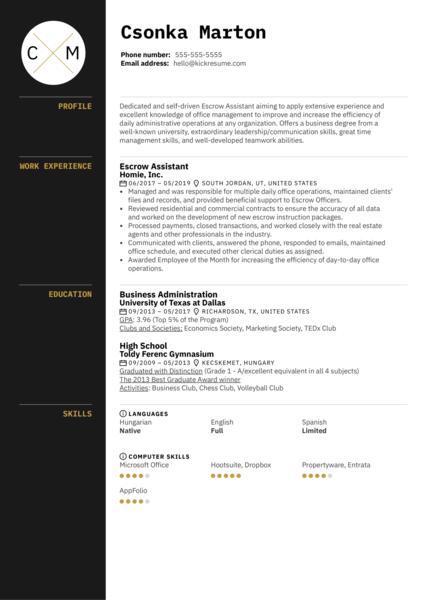 Escrow Assistant Resume Sample