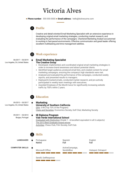 Email Marketing Specialist Resume Example