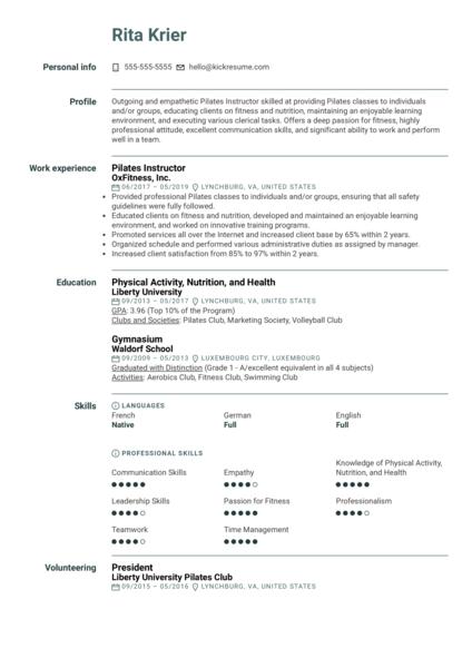 Pilates Instructor Resume Sample