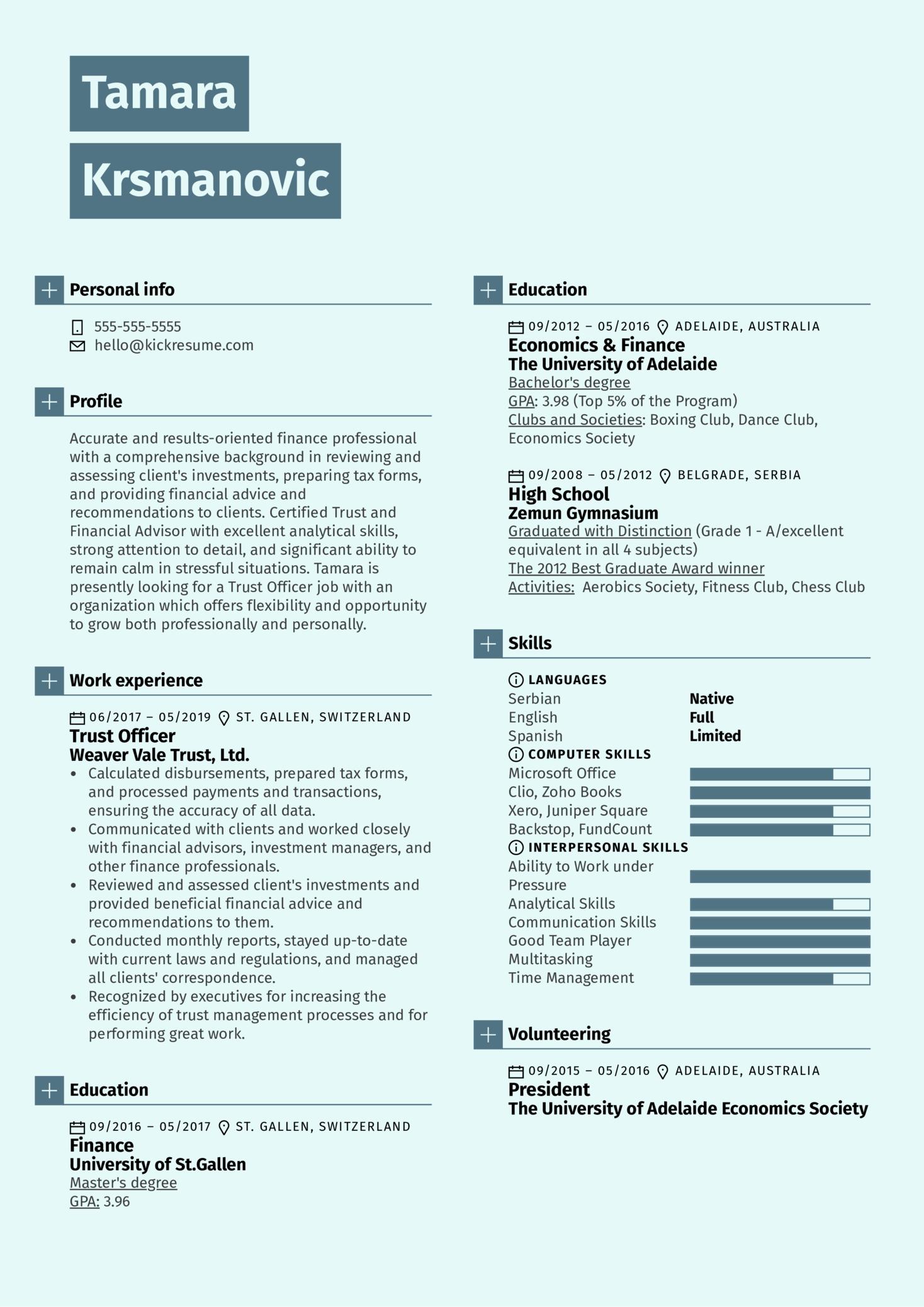 Trust Officer Resume Sample (parte 1)