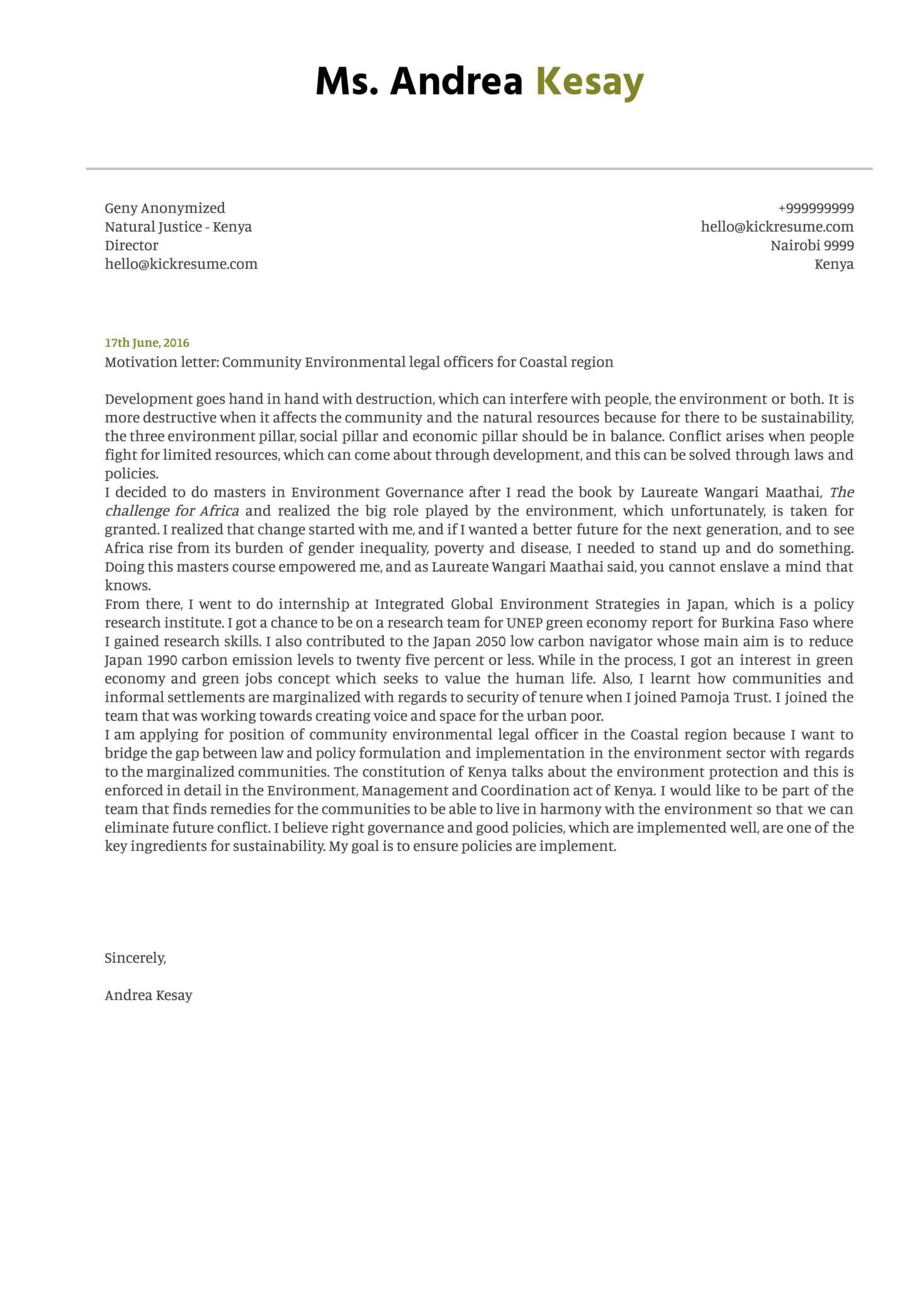 Environmental Research Assistant Cover Letter