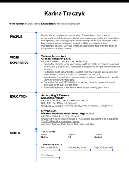 Trainee Accountant Resume Example