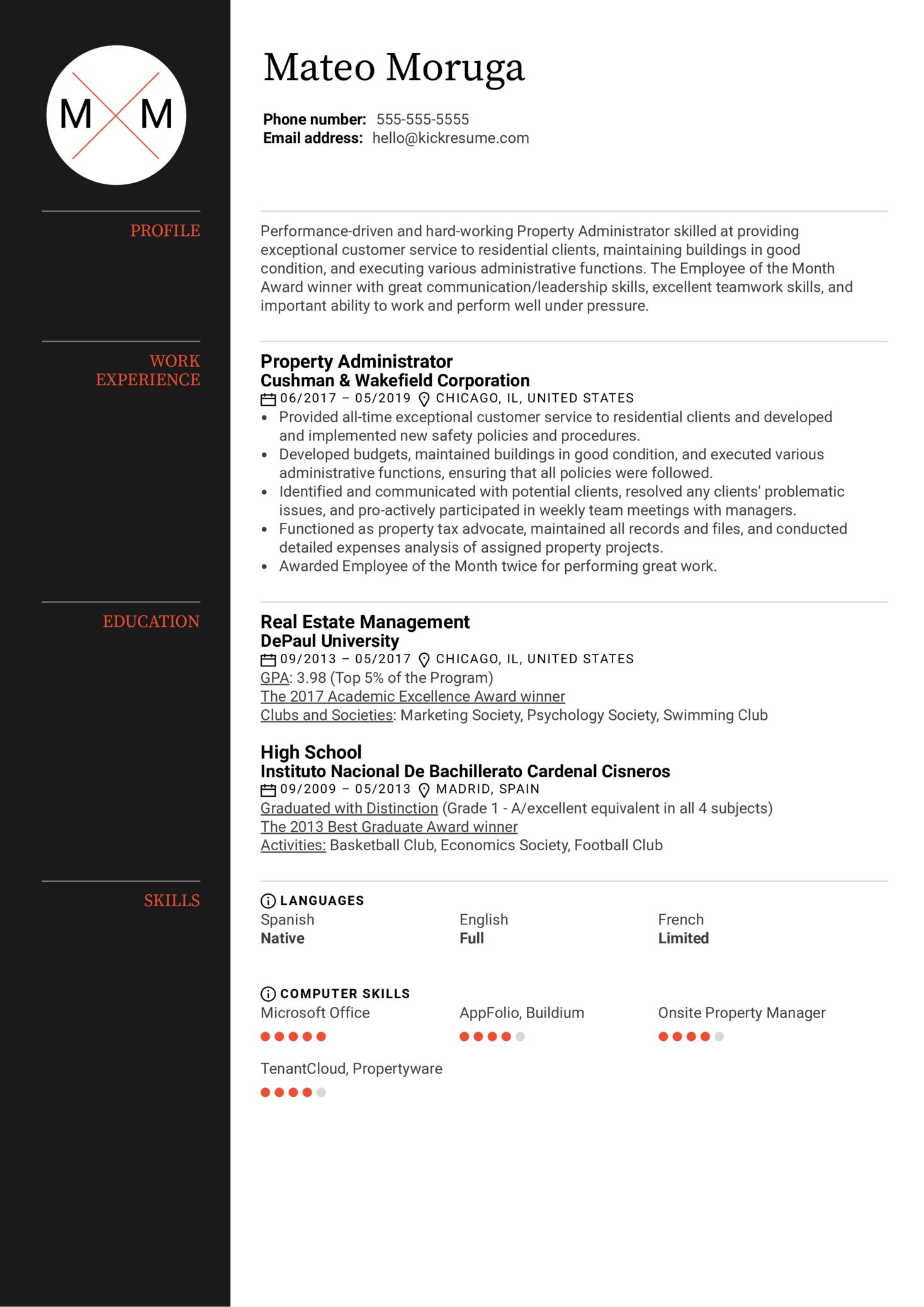 Property Administrator Resume Sample (parte 1)