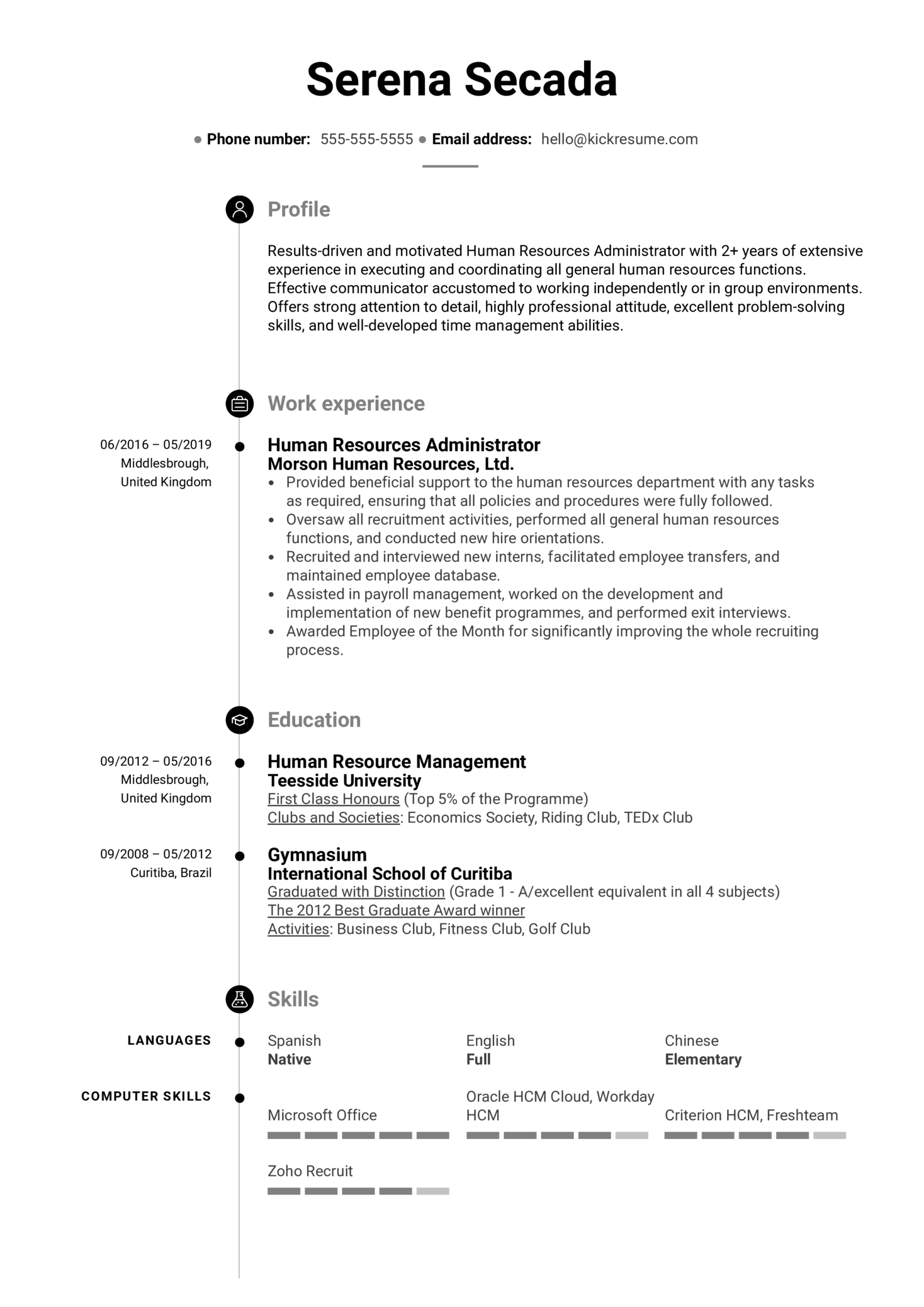 Human Resources Administrator Resume Example (parte 1)