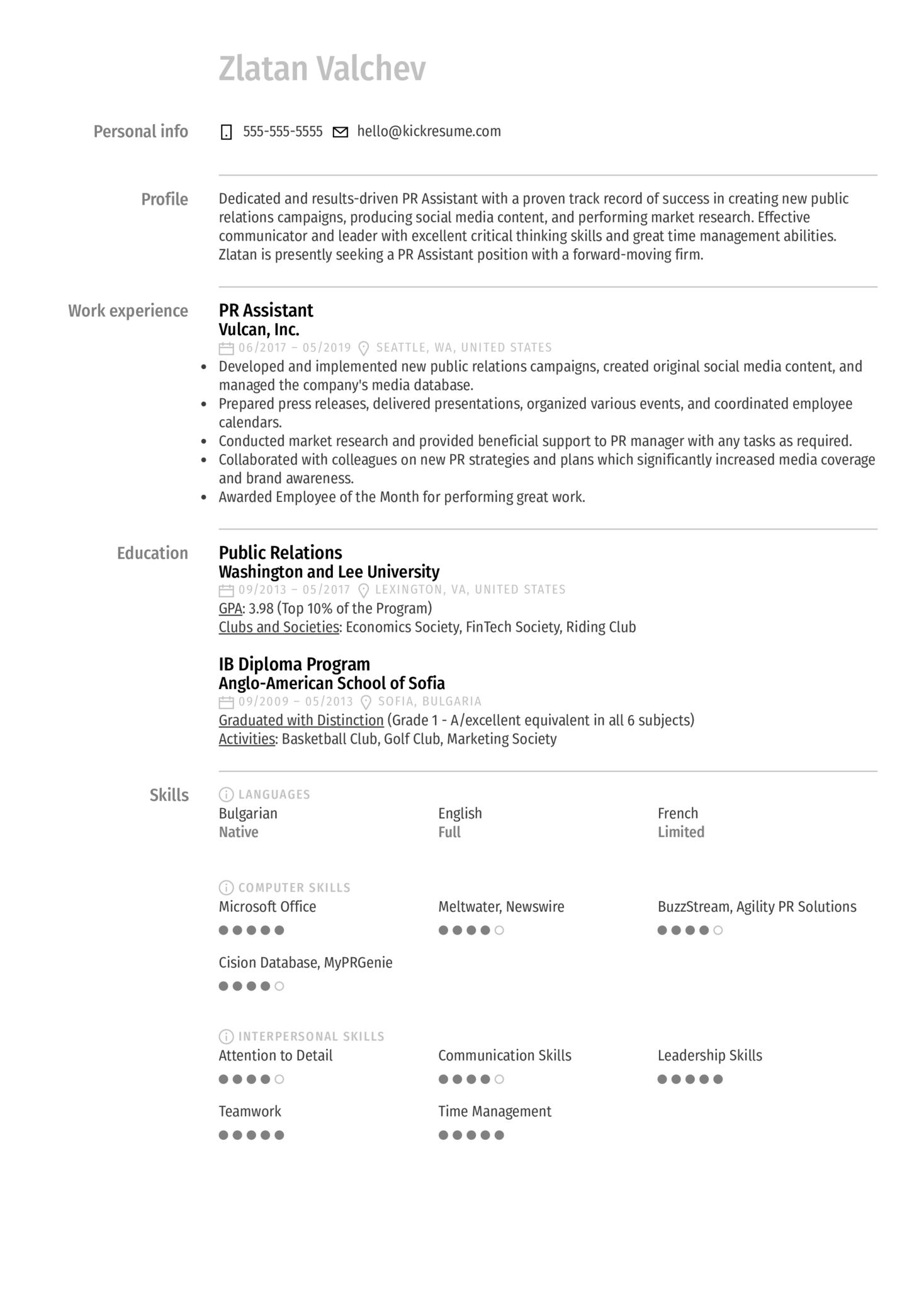 PR Assistant Resume Sample (Part 1)