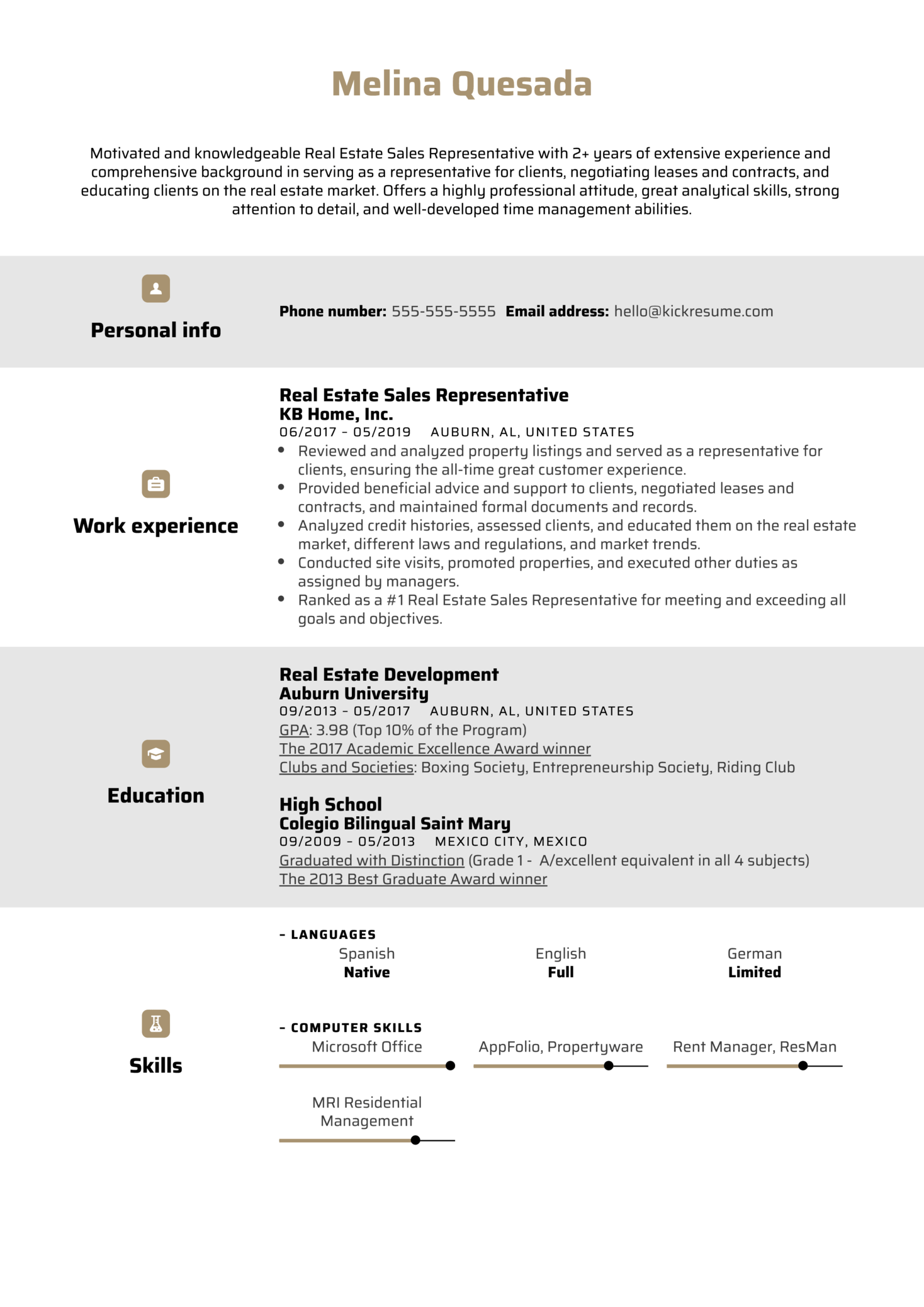 Real Estate Sales Representative Resume Example (časť 1)