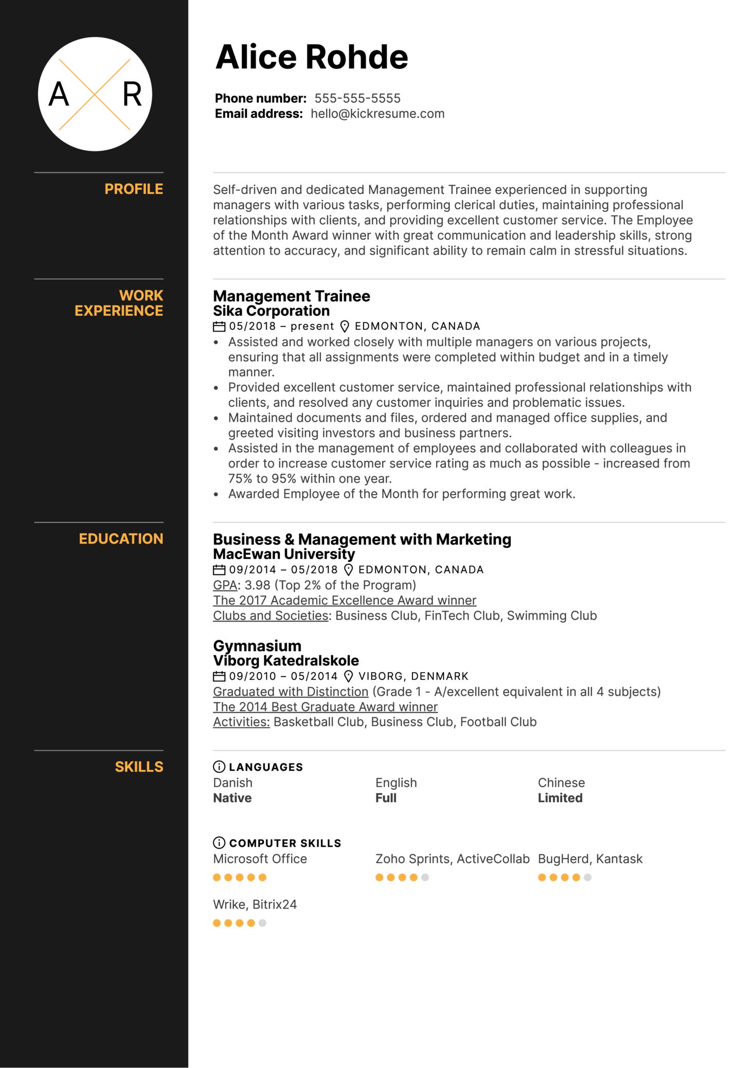 Management Trainee Resume Example (časť 1)