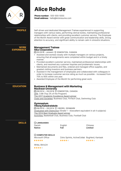 Management Trainee Resume Example