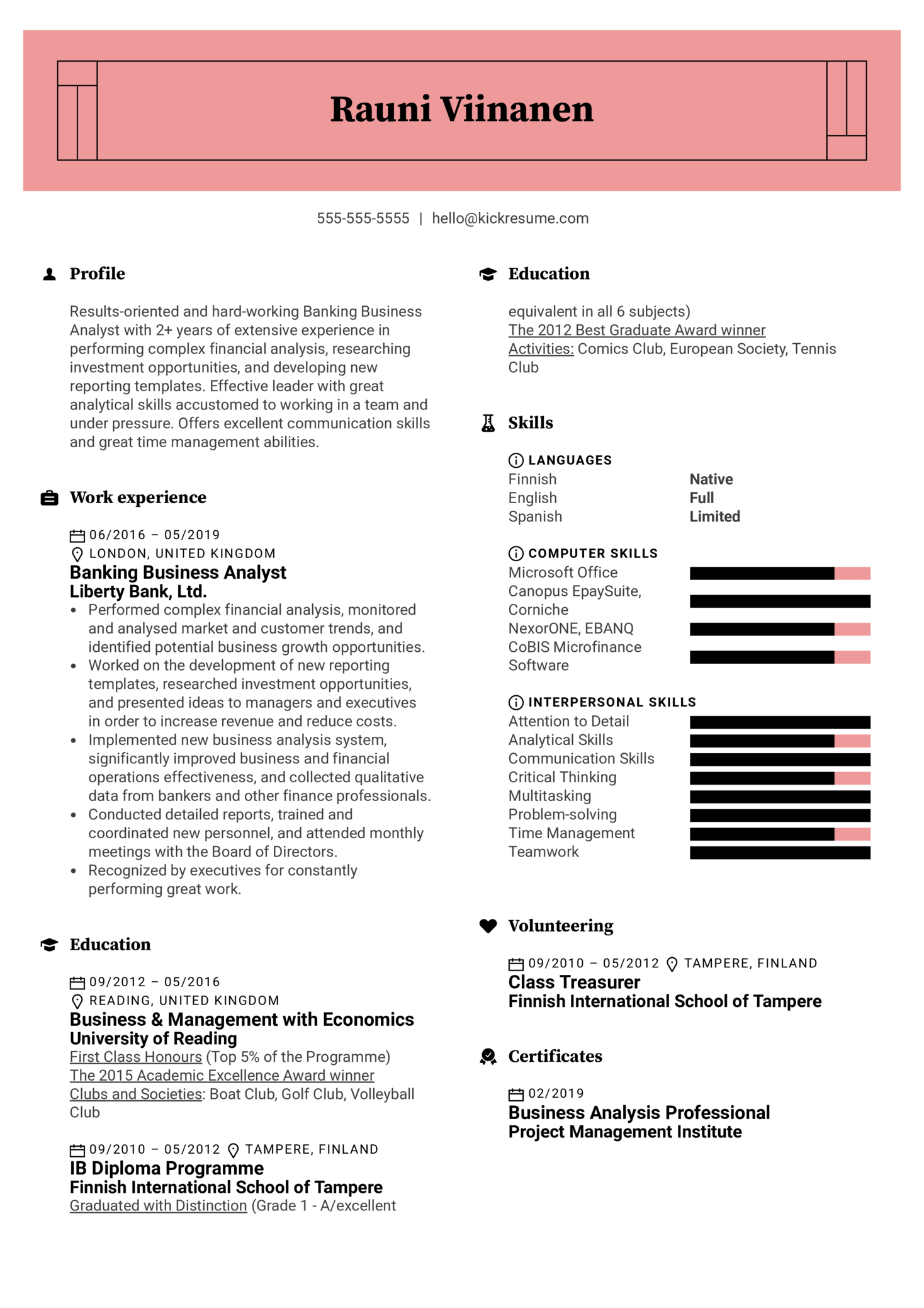Banking Business Analyst Resume Sample (Part 1)