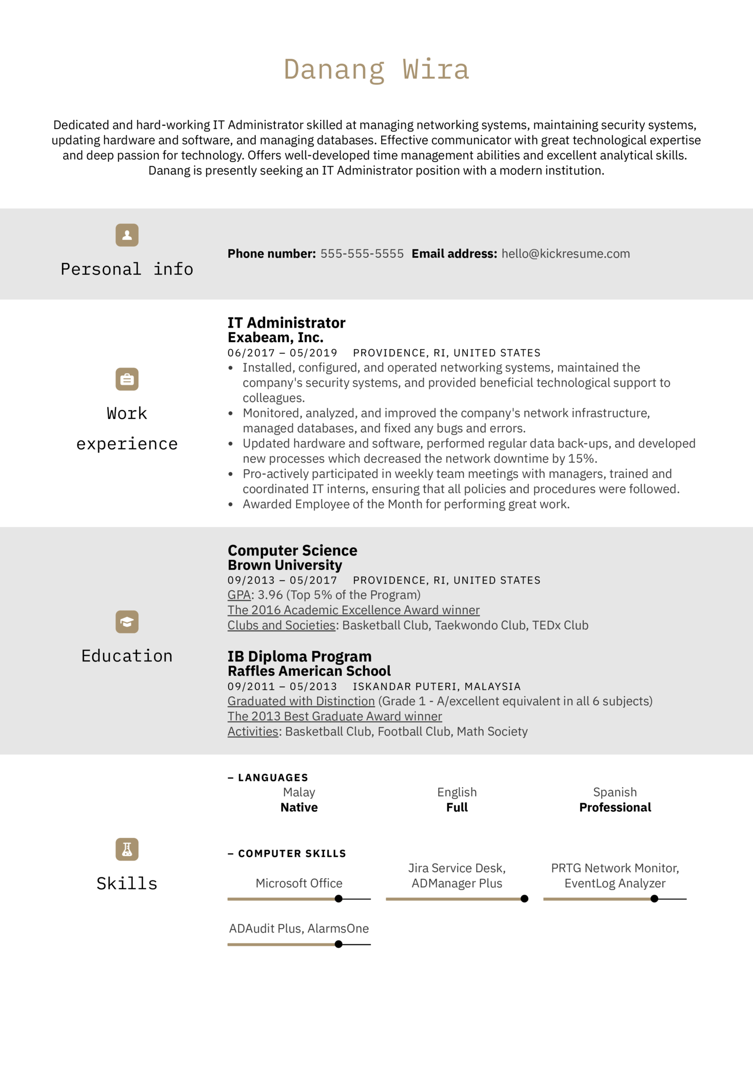 IT Administrator Resume Example (Part 1)