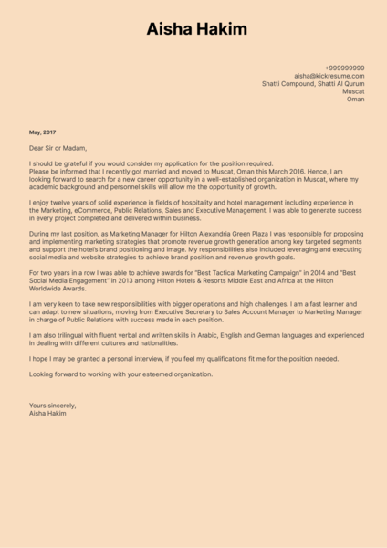 Sheraton Marketing Manager Cover Letter Sample