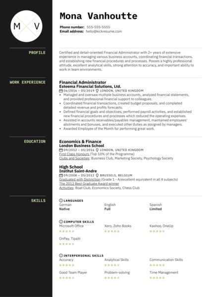 Financial Administrator Resume Sample