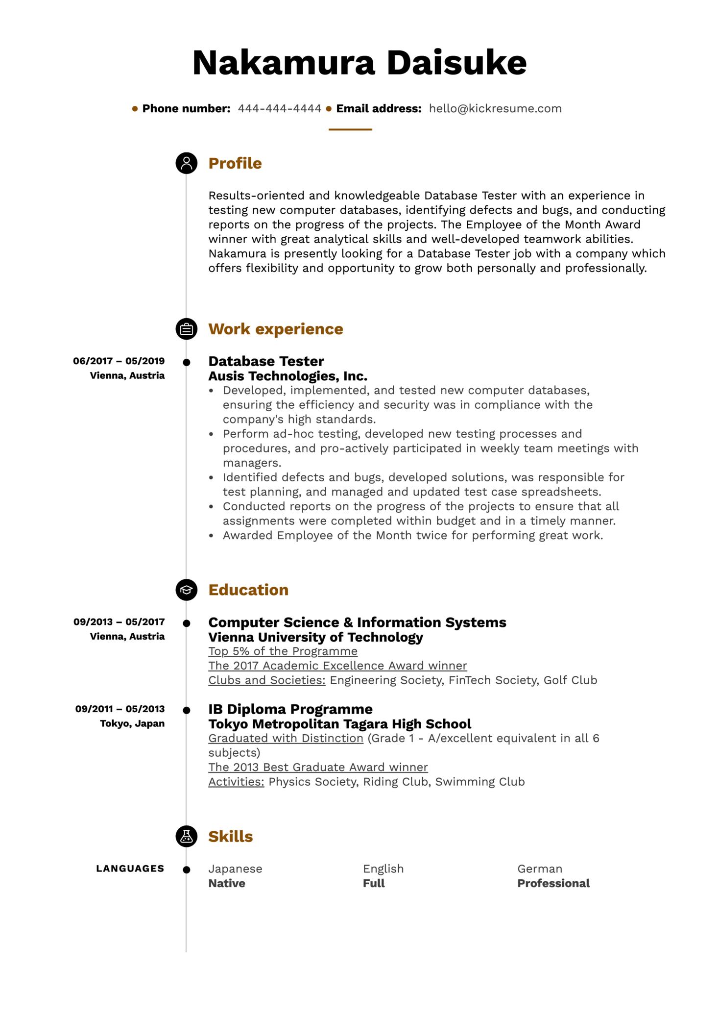 Database Tester Resume Sample (Part 1)