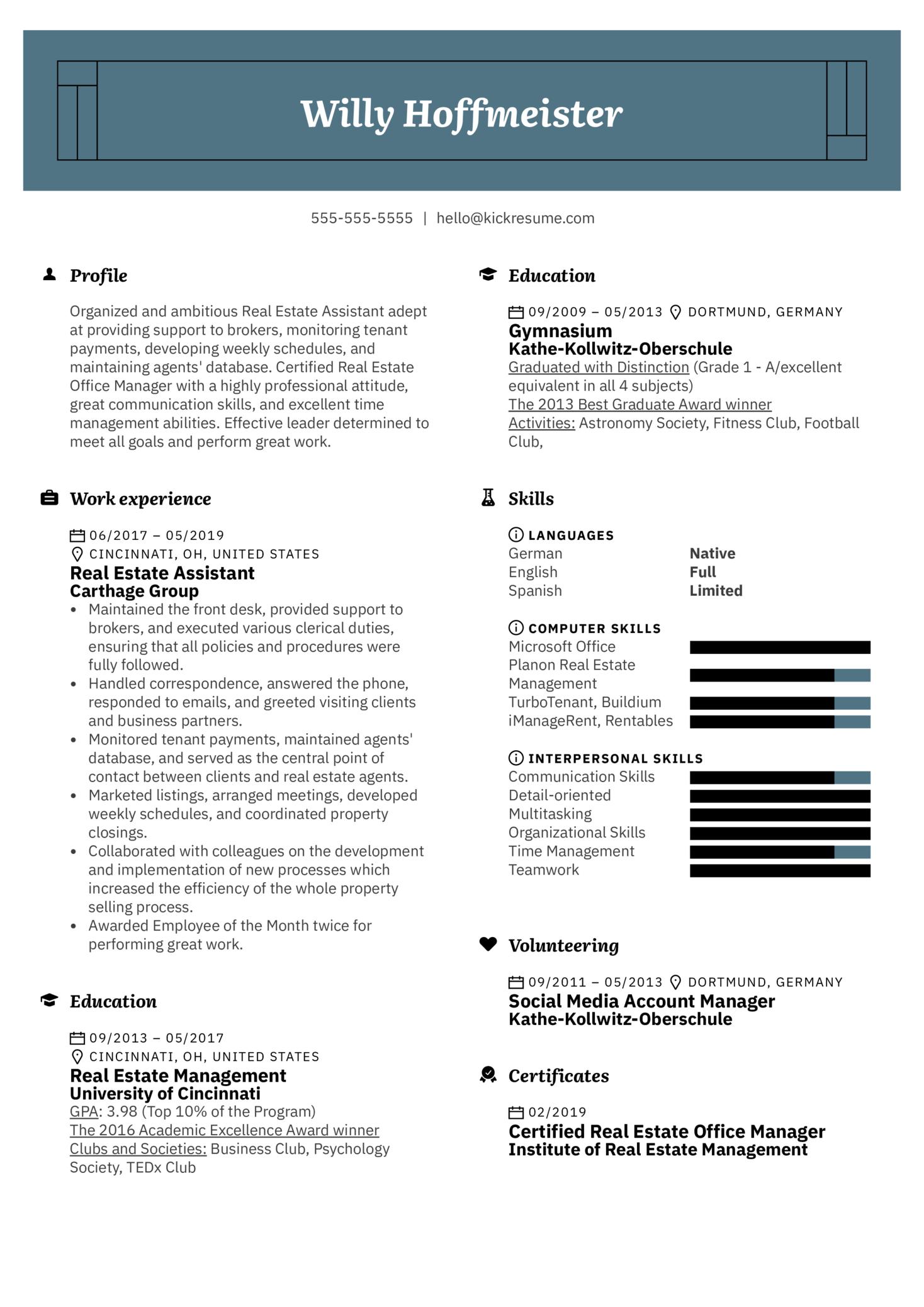 Real Estate Assistant Resume Sample (parte 1)