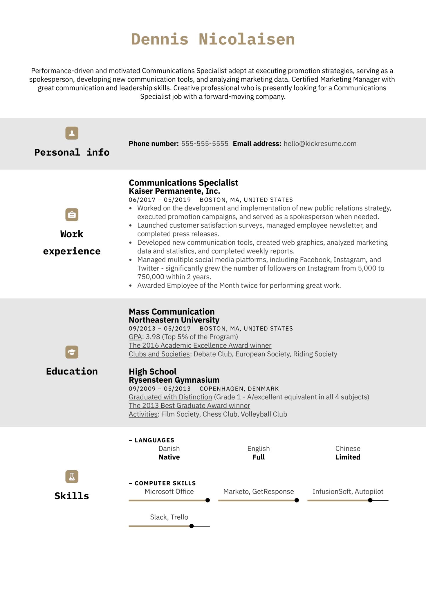 Communications Specialist Resume Sample (Parte 1)