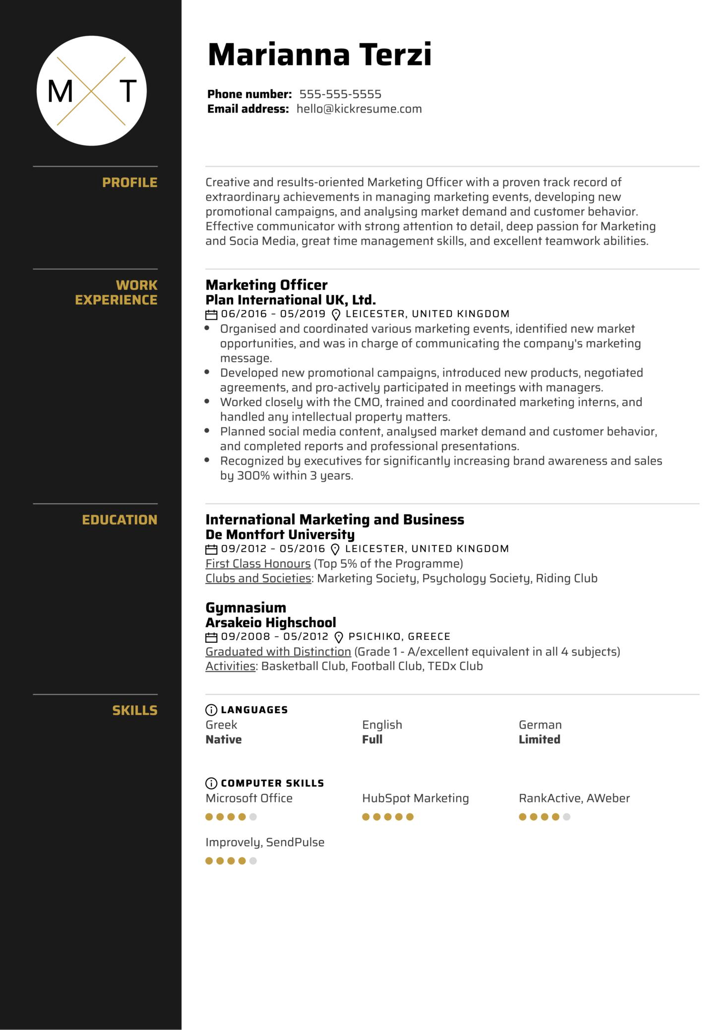 Marketing Officer Resume Sample (parte 1)