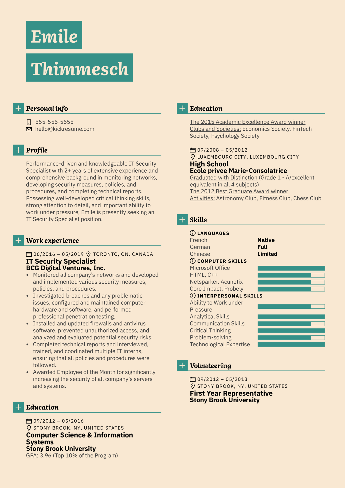 IT Security Specialist Resume Sample (Part 1)