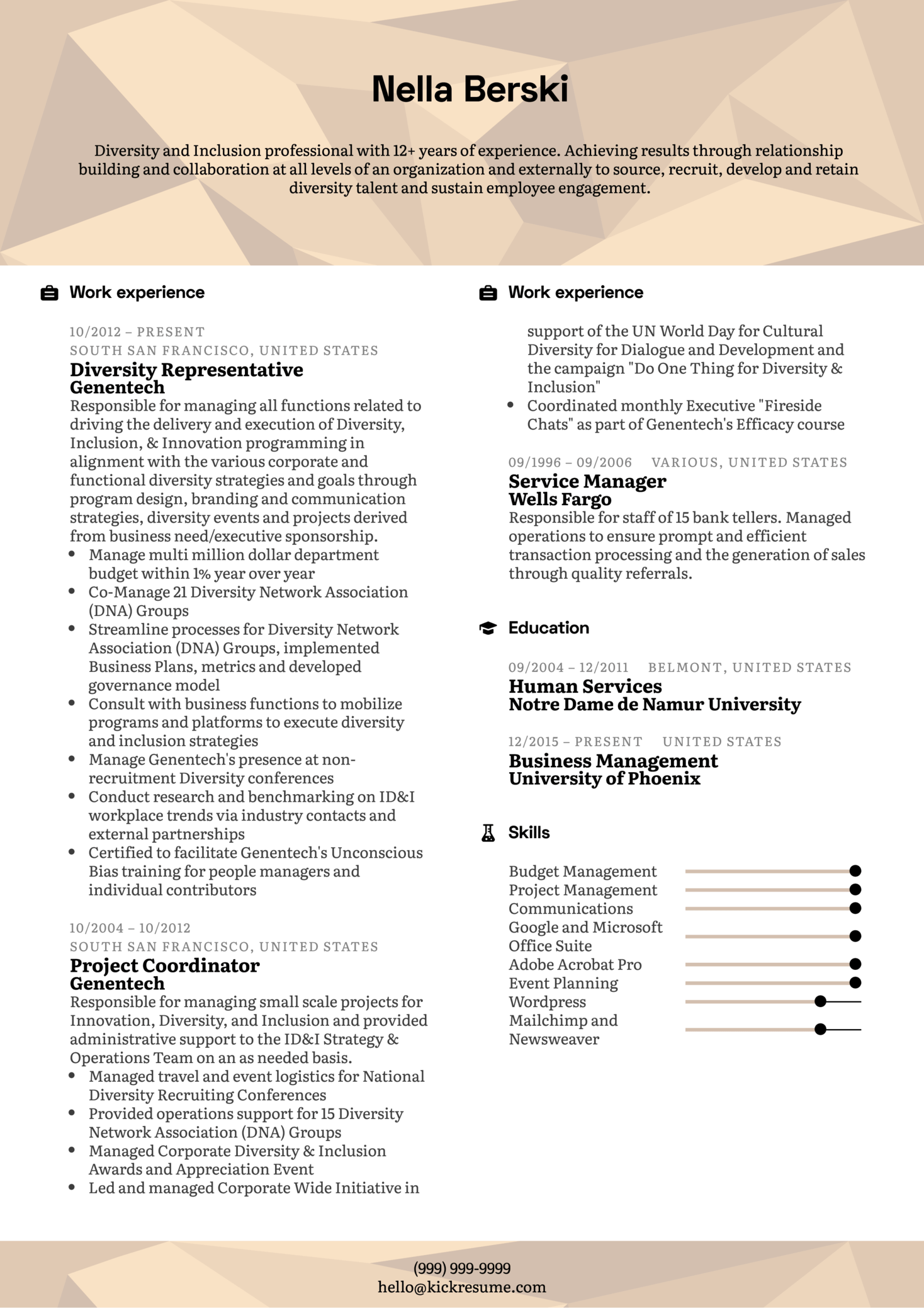 Diversity Manager Resume Example (Parte 1)
