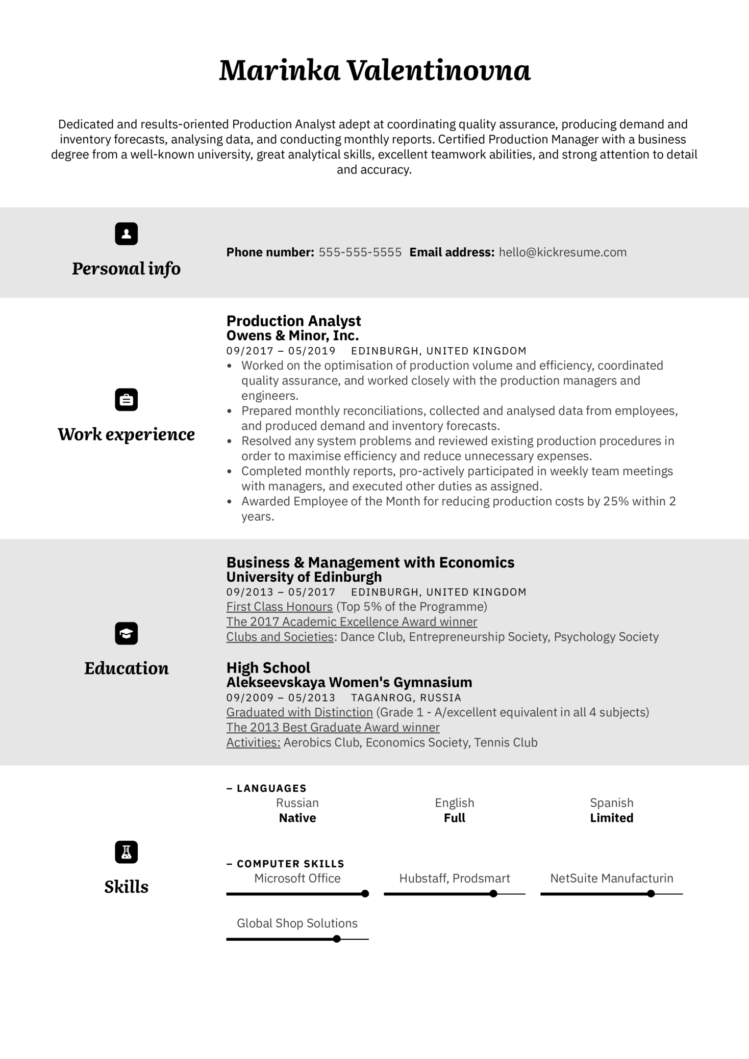 Production Analyst Resume Example (parte 1)