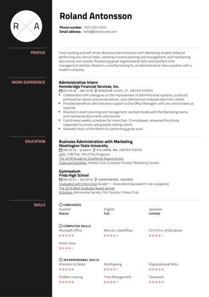 Administrative Intern Resume Sample