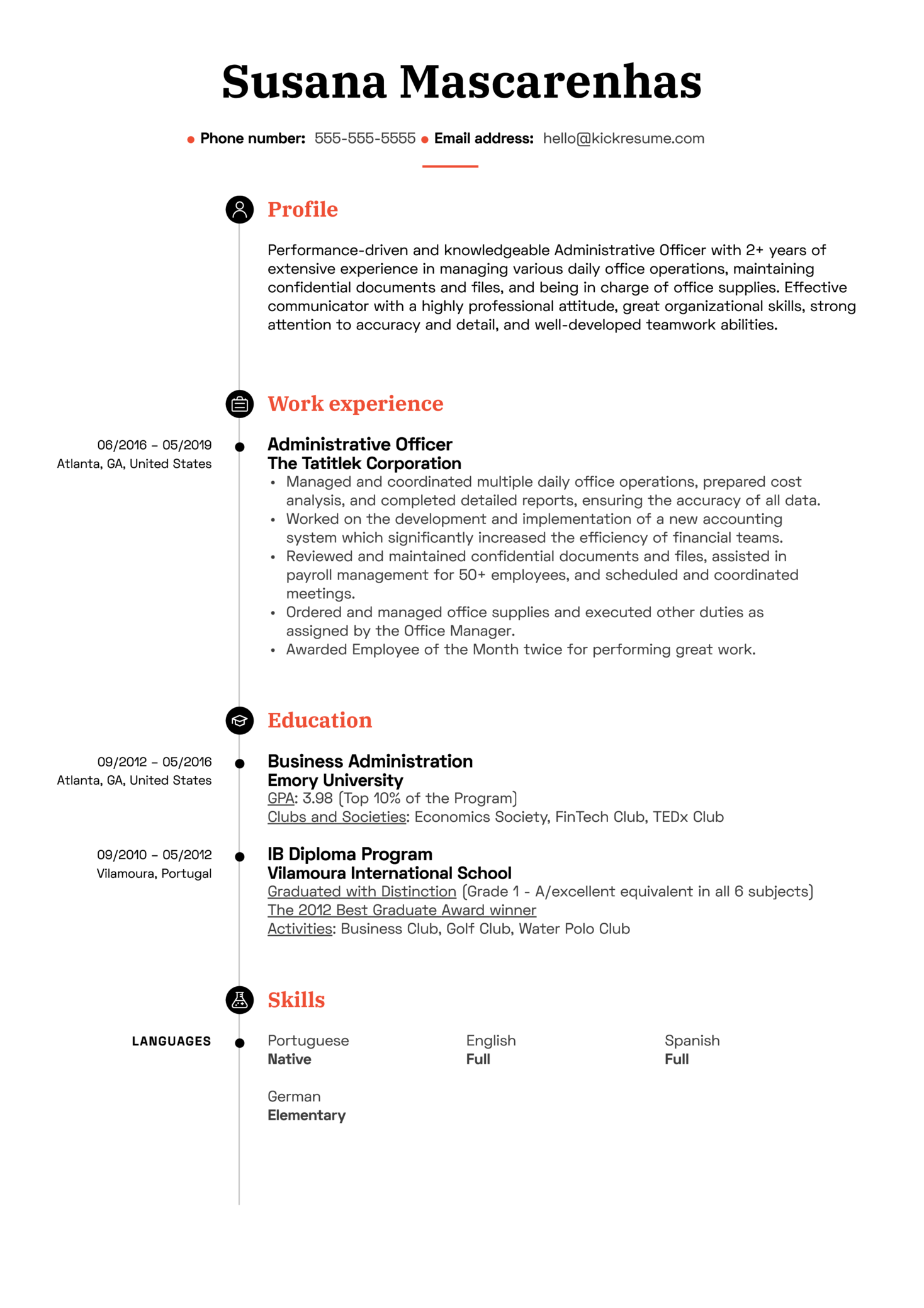 Administrative Officer Resume Sample (Part 1)
