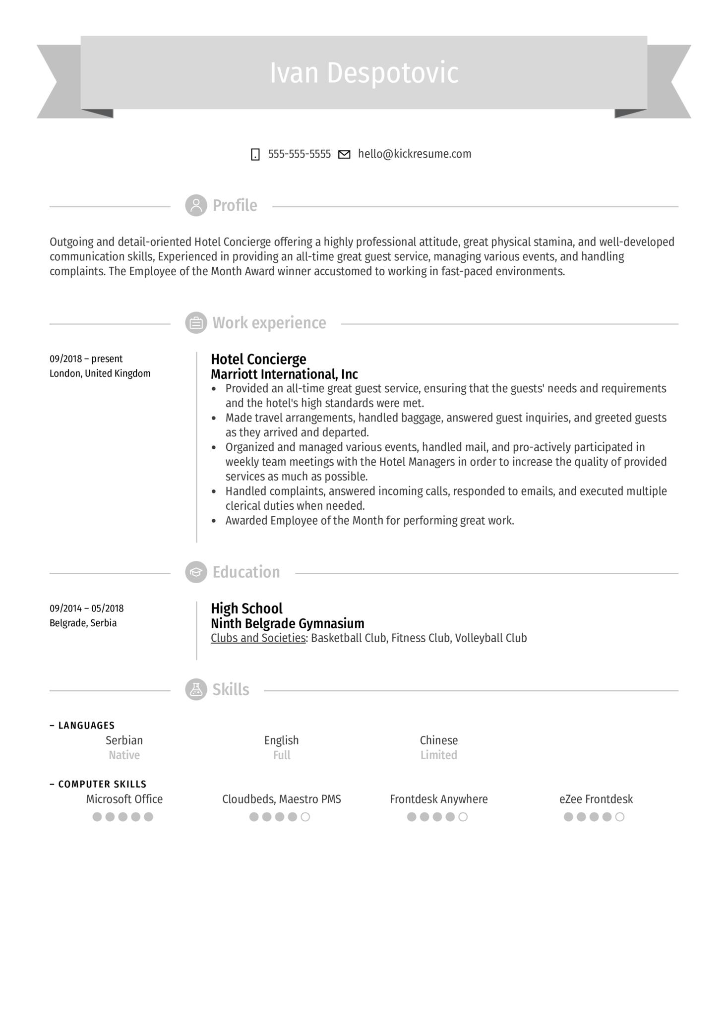 Hotel Concierge Resume Example (Part 1)