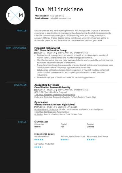 Financial Risk Analyst Resume Sample