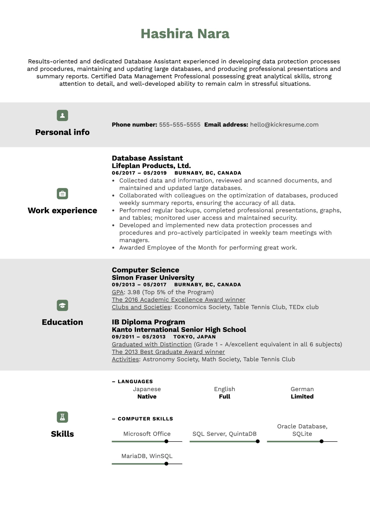 Database Assistant Resume Sample (parte 1)
