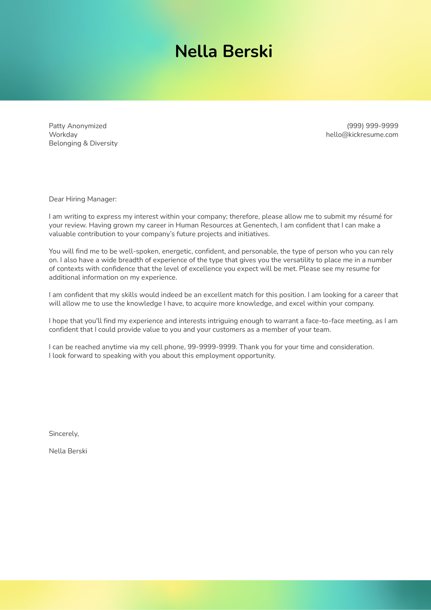 Workday Diversity Manager Cover Letter Sample