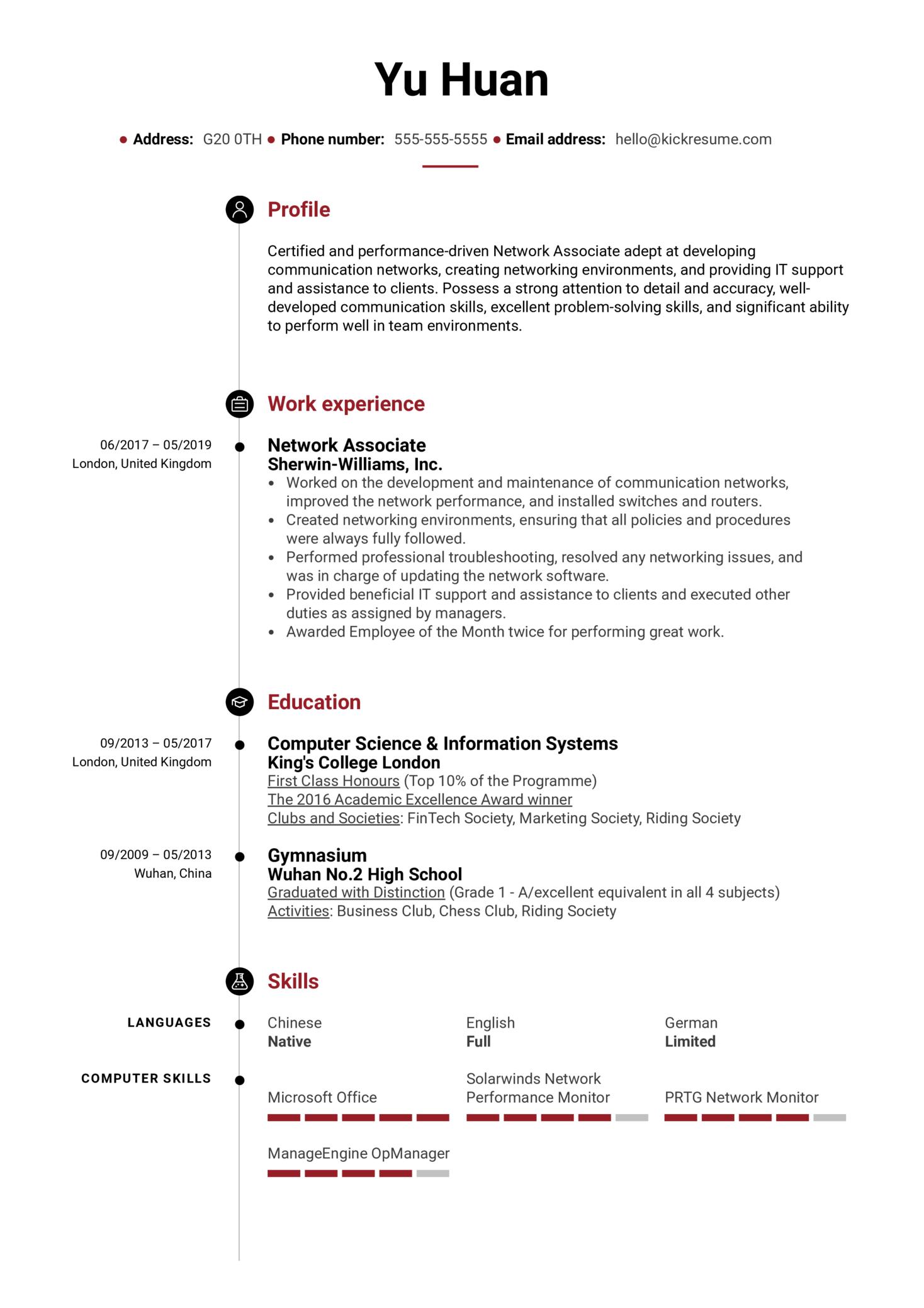 Network Associate Resume Sample (Part 1)