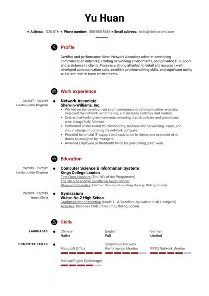 Network Associate Resume Sample