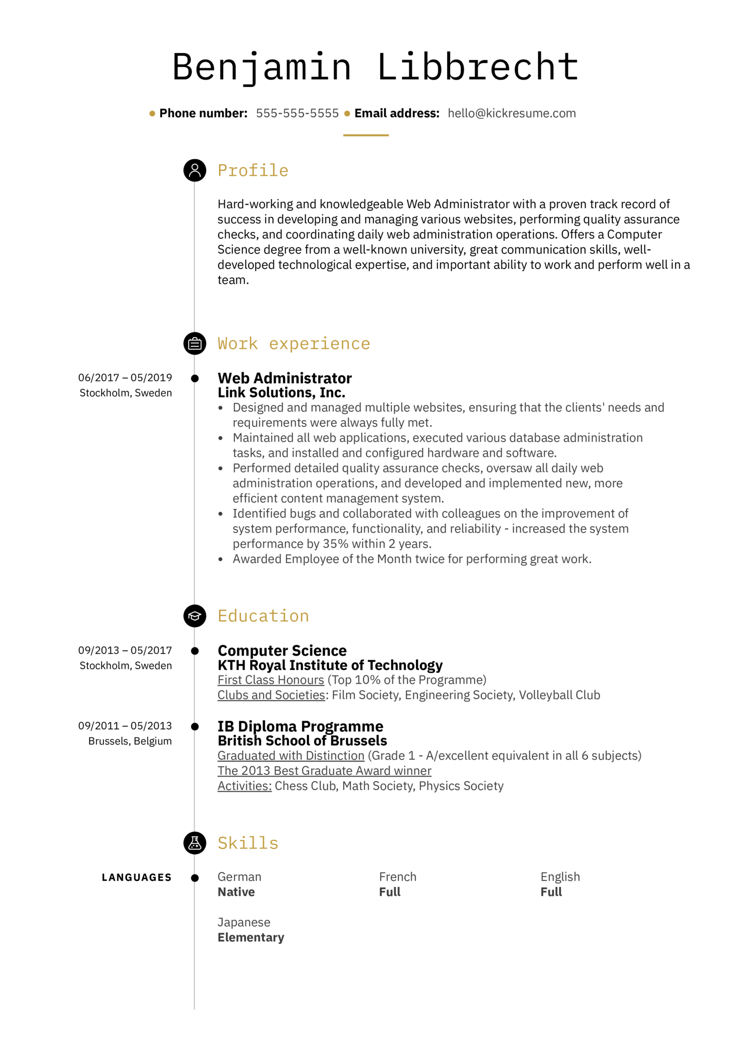 Web Administrator Resume Sample (parte 1)